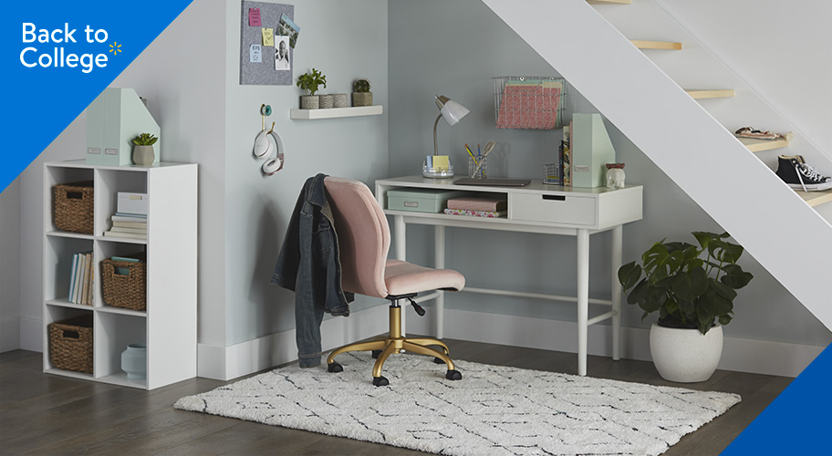 Work your small space.  Limited room can't hold you back. Get to work with the right desk, office chair, & cube storage. Now, you can stop procrastinating, feel more productive, & write that paper.