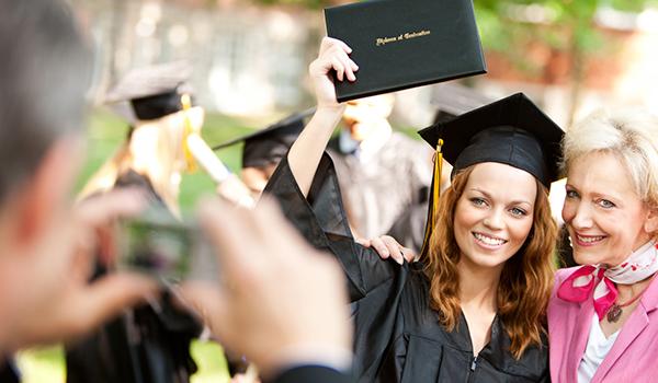 Person taking photo of graduation