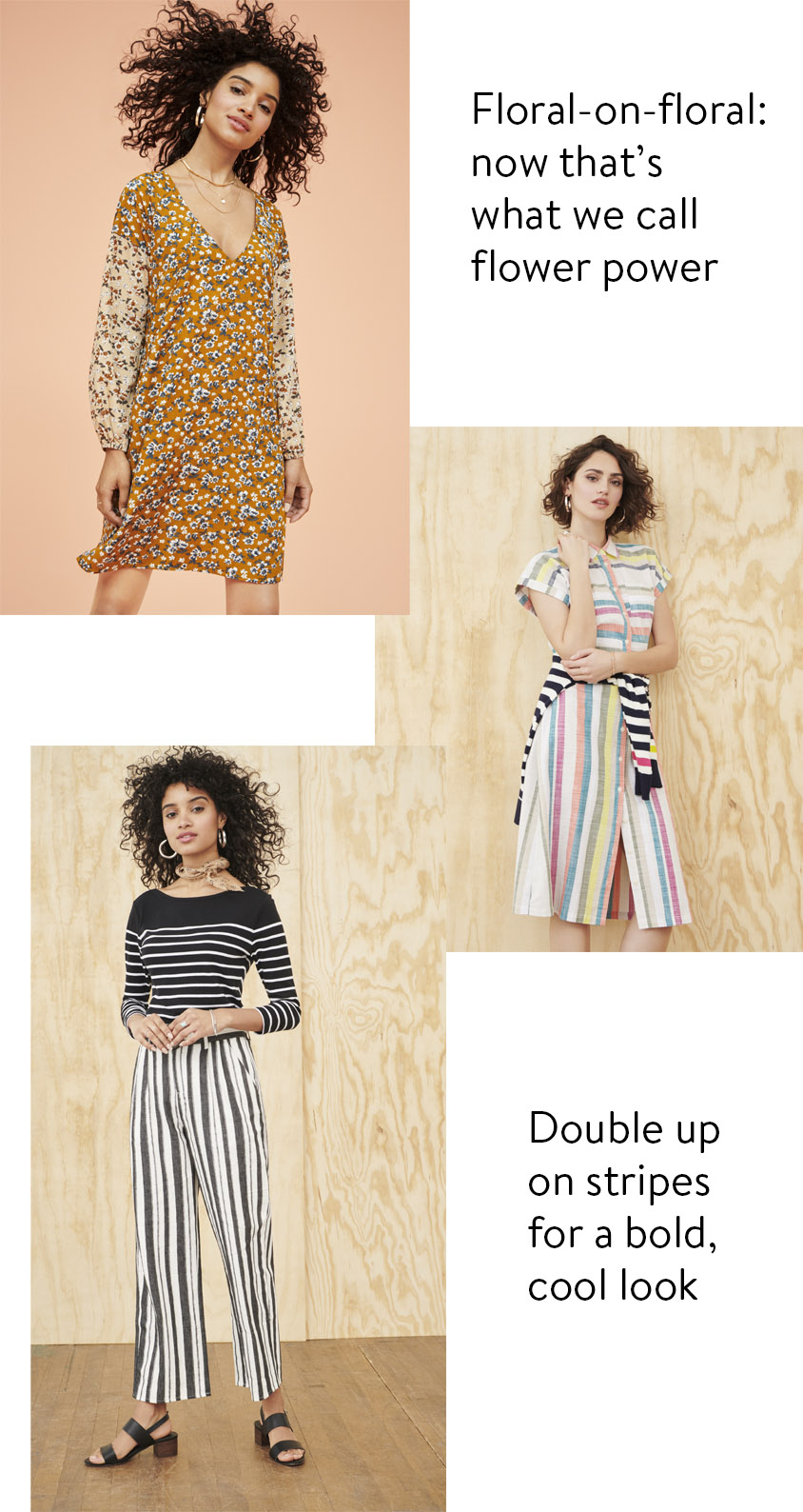 double floral double stripe