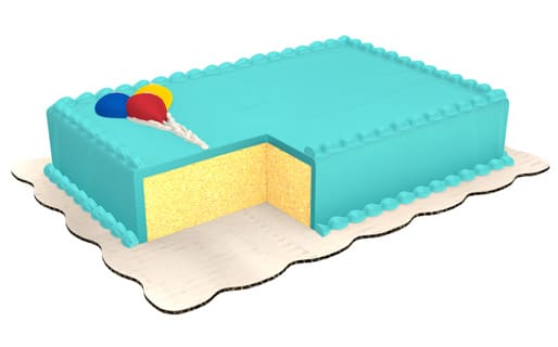 Yellow Sheet Cake Decorated With Light Blue Icing Top And Bottom Borders
