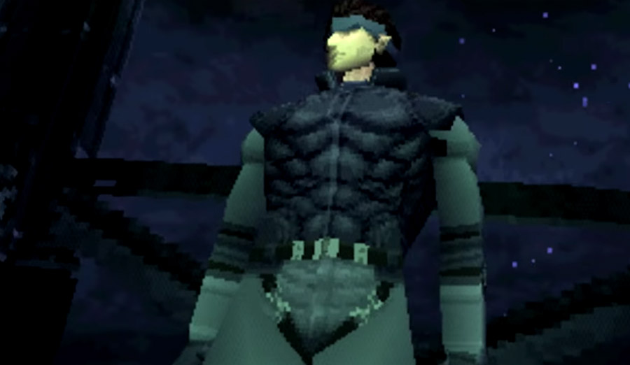 PlayStation Classic - Solid Snake stands against a starry sky in Metal Gear Solid