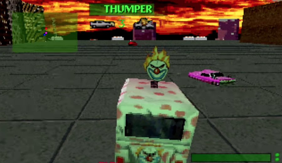 PlayStation Classic - Twisted Metal screenshot featuring Sweet Tooth's iconic ice cream van.
