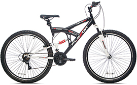 Black and white men's mountain bike with red lettering and red suspension spring