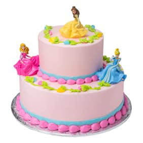 Disney Princess Tier Cake With Aurora Belle And Cinderella Figurines