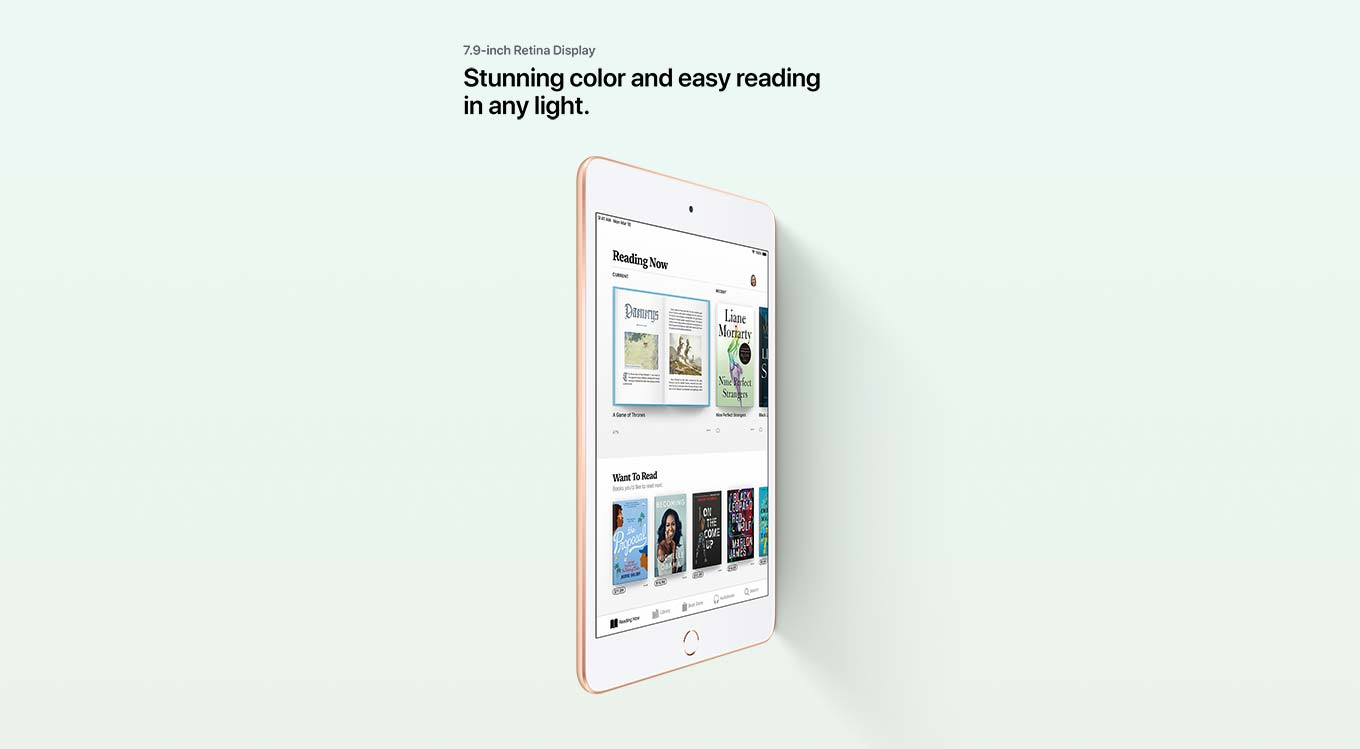 7.9 inch Retina Display. Stunning color and easy reading in any light.