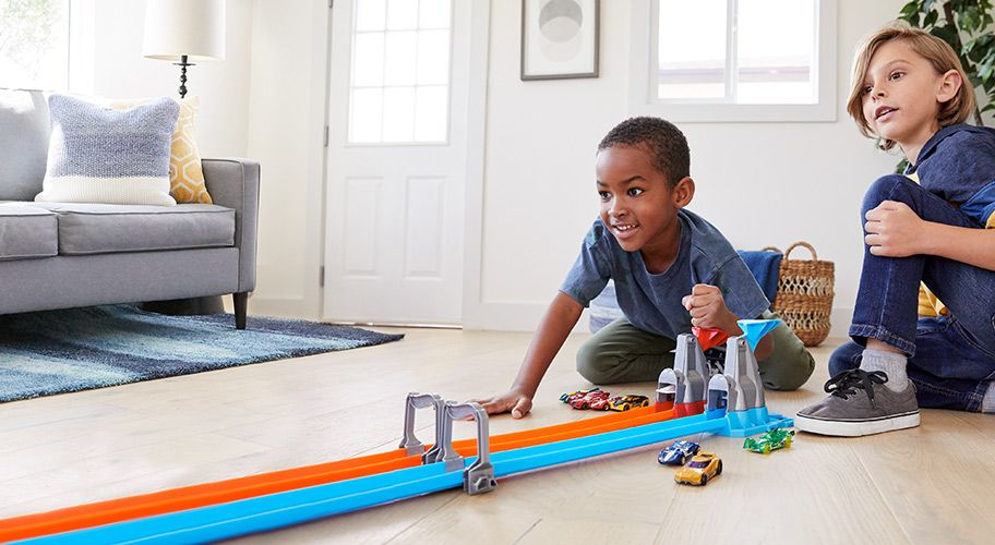 Double your drag racing fun Longer tracks, two cars, easy storage. In-store & online.