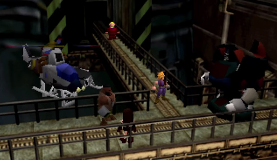 PlayStation Classic - Final Fantasy VII screenshot featuring Cloud and other party members.