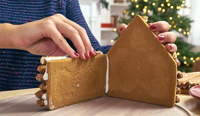 Assembling sides of the gingerbread log cabin