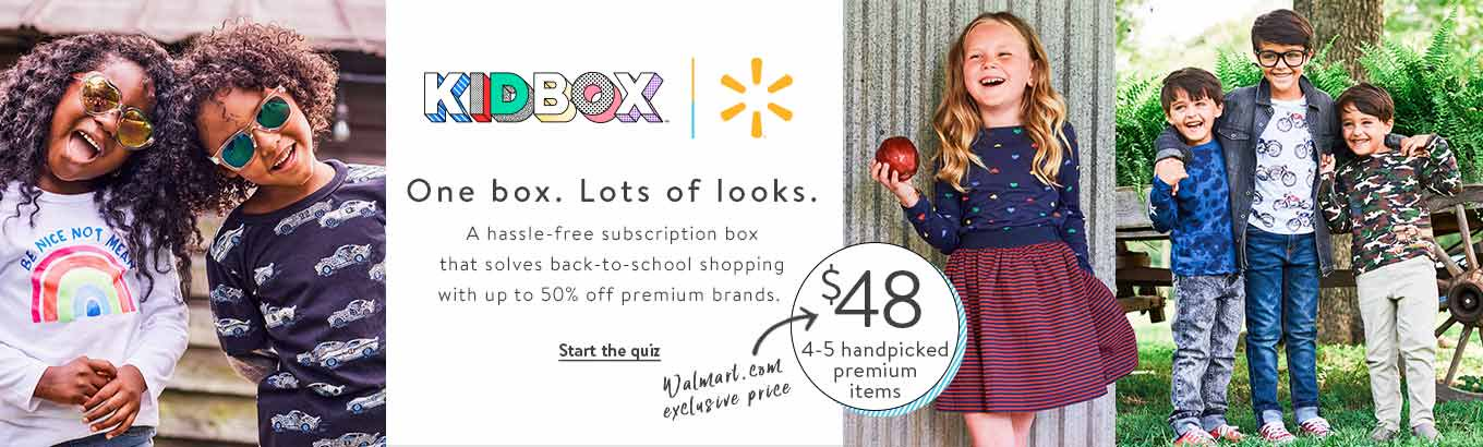 Kidbox. One box. Lots of looks. A hassle-free subscription box that solves back-to-school shopping with up to 50% off premium brands. Starting at $48 for 4–5 handpicked premium items, a Walmart.com exclusive price. Start the quiz.