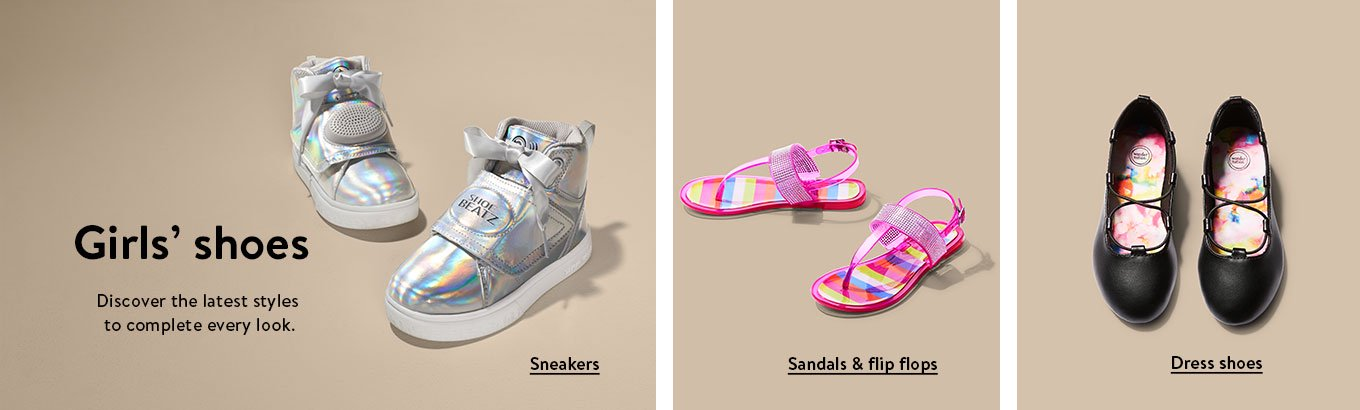 54329601c704df Girls  shoes. Discover the latest styles to complete every look. Sneakers.  Sandals