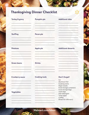 Thanksgiving Dinner Checklist Thumbnail Image