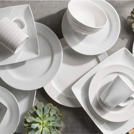 a set of porcelain dinnerware plates and mugs from Better Homes and Gardens Live Better dining collection showcasing better basics for dinnerware