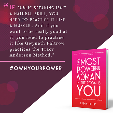 A quote about public speaking next to the book cover for 'The Most Powerful Woman in the Room is You'