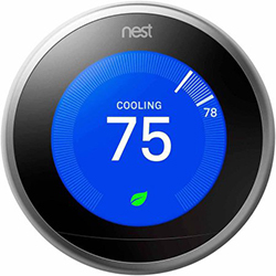 Nest home smart thermostat showing blue for cooling