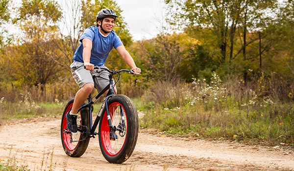 Man on a fat tire bicycle
