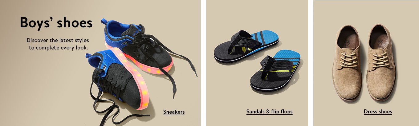 9916bbfabb4 Boys  shoes. Discover the latest styles to complete every look. Sneakers.  Sandals