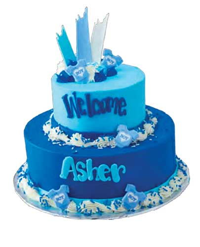 Baby events blue welcome baby boy cake
