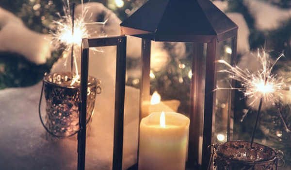 Holiday lights and candles