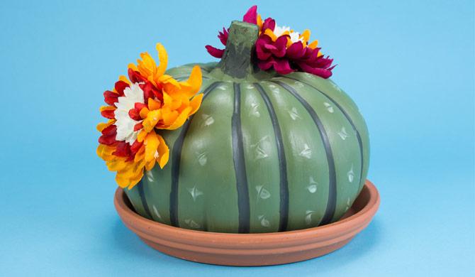 cactus with flower no carve pumpkin idea - Pumpkin Decorating Ideas