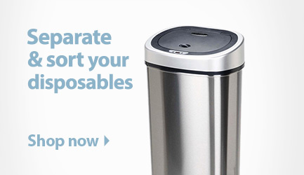 Separate and sort your disposables. Shop trash cans and recycling bins.