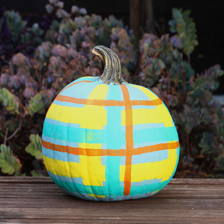 Blue, teal yellow and orange plaid pumpkin