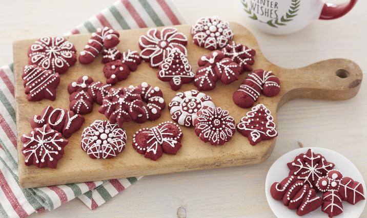Red Velvet Spritz Cookies