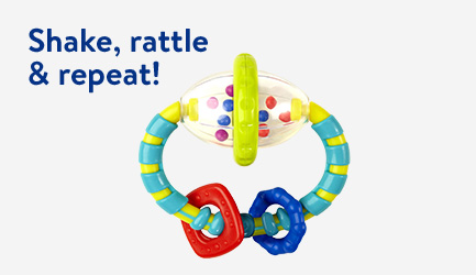 Shake, rattle and repeat! Baby and toddler rattles and teethers.