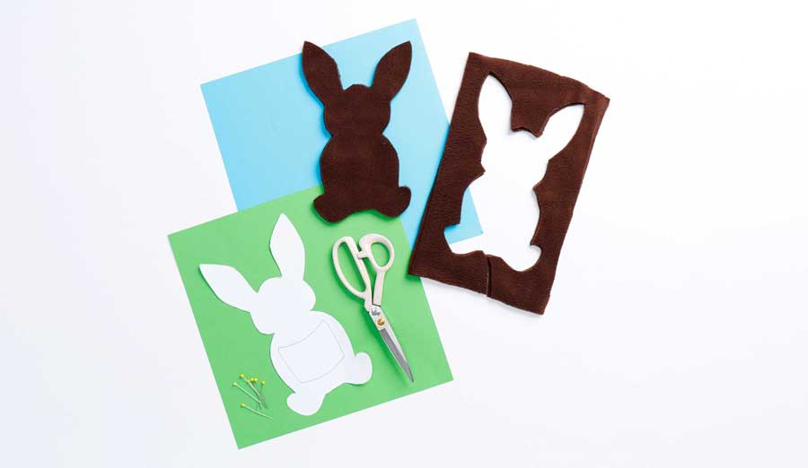 Step 2 - pieces of brown fleece in bunny shapes stacked