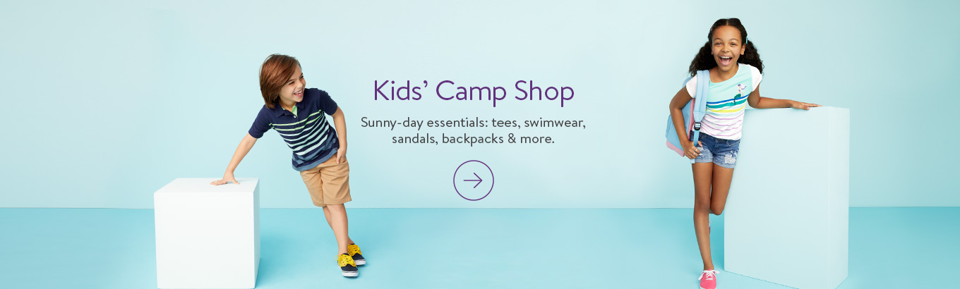 Kids' Camp Shop Sunny-day essentials: tees, swimwear, sandals, backpacks & more.