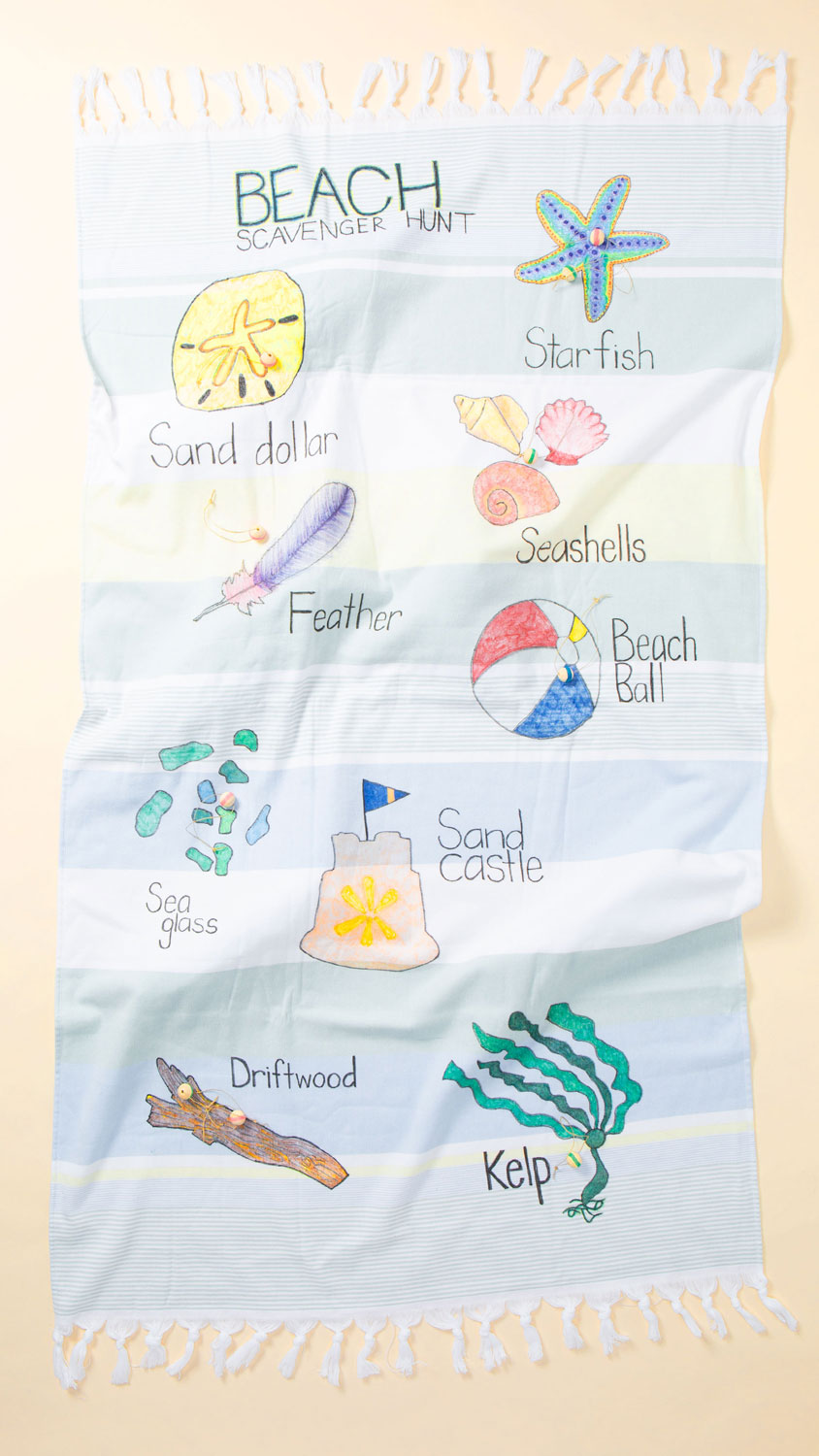 full view of beach towel with markers