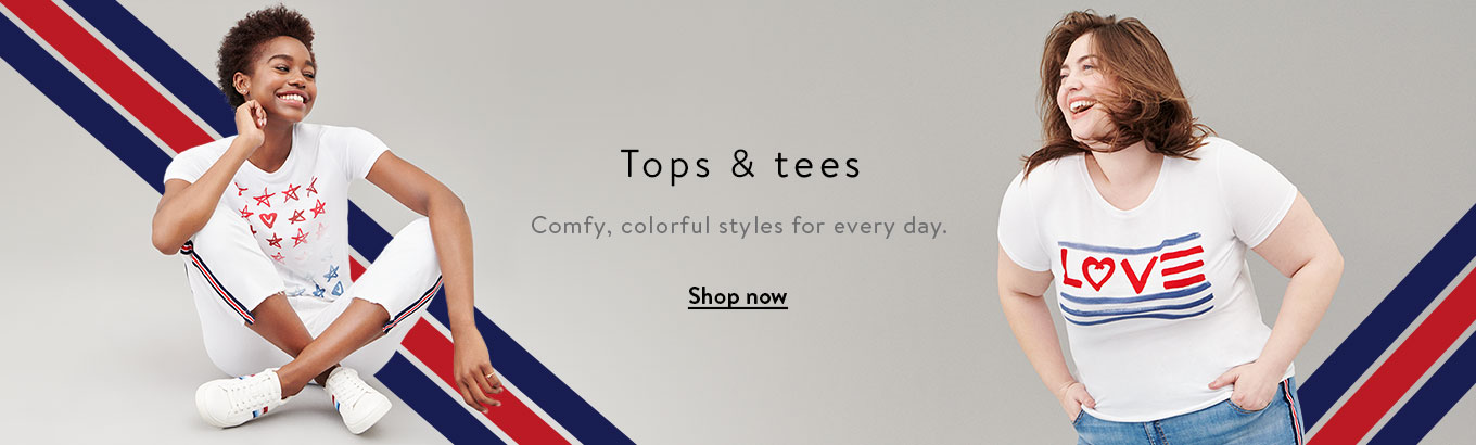 Tops & tees. Comfy, colorful styles for every day. Shop now.