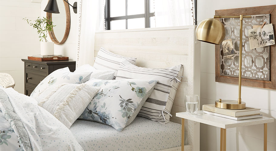 Spring wake-up. With a new season of sunshine just arrived, it's time to lighten your bedding look. Find new styles in bright whites and modern florals or upgrade your basics to make your whole space feel refreshed.
