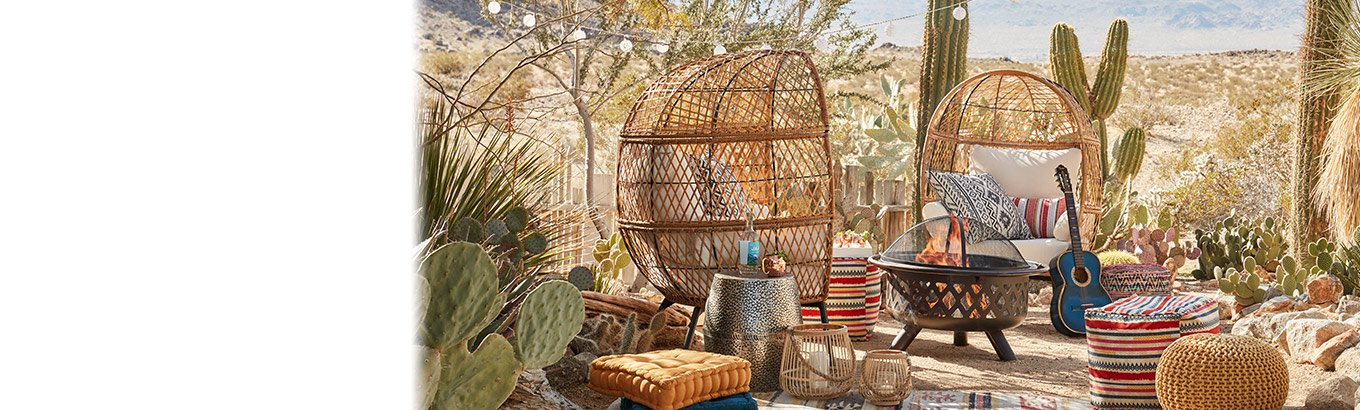 Bohemian dreams. Shop patio eleven dollars and up. Eclectic furniture, heating, and decor.