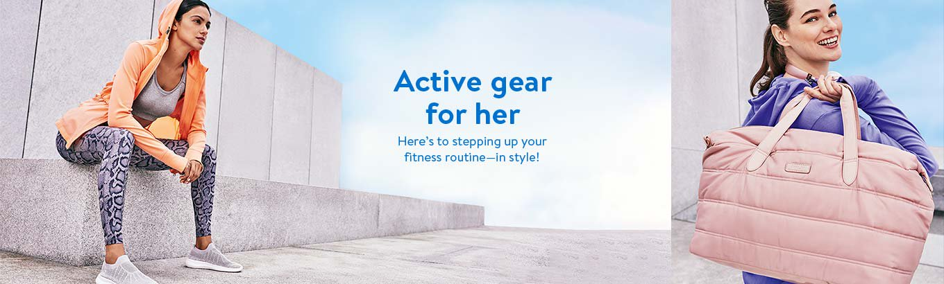 Active gear for her. Here's to stepping up your fitness routine in style! Shop women's. Shop women's plus.