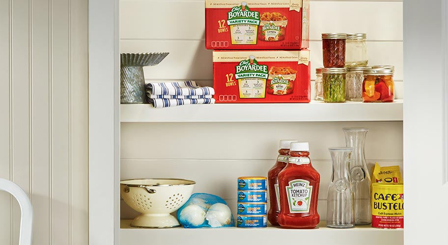Keep the pantry stocked up with ketchup, mustard, mayo & other condiments that add zest to foods.