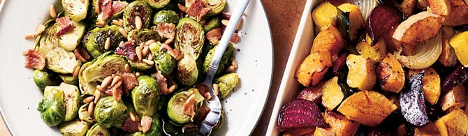 Brussels sprouts with pine nuts on a Thanksgiving table