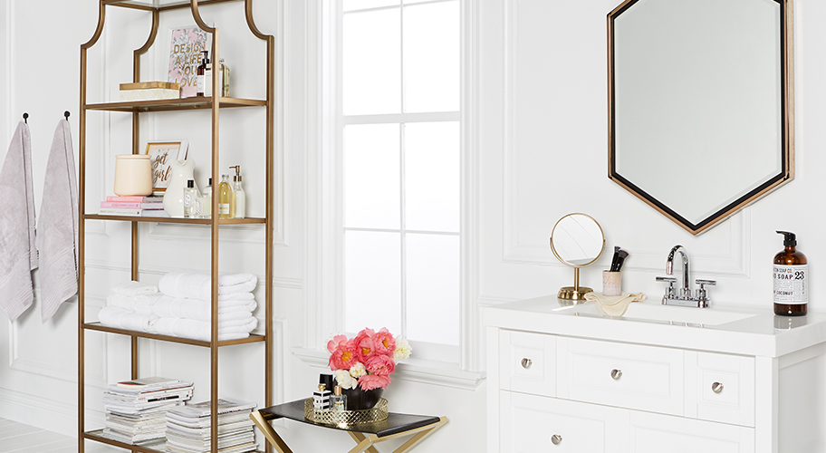 Luxe Life. Looking for ways to add a bit more radiance to your morning routine?  Shop Glam bathroom decor.