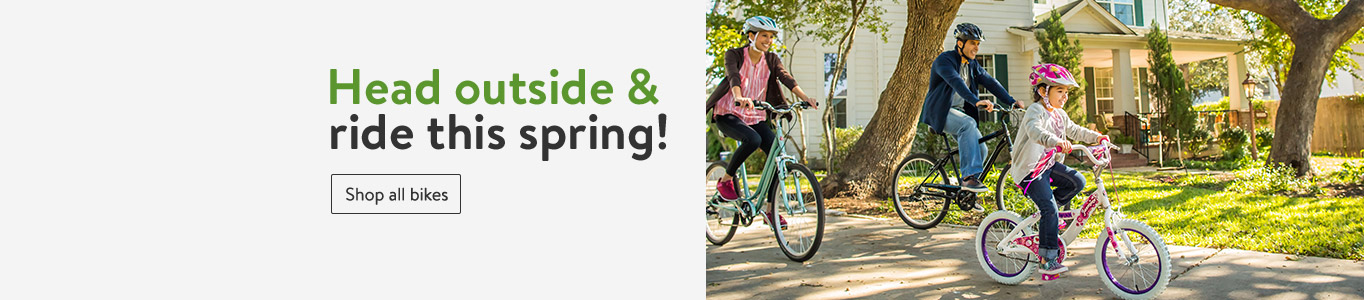 Image of a family riding their bikes together. Head outside and ride this spring! & Bikes - Walmart.com