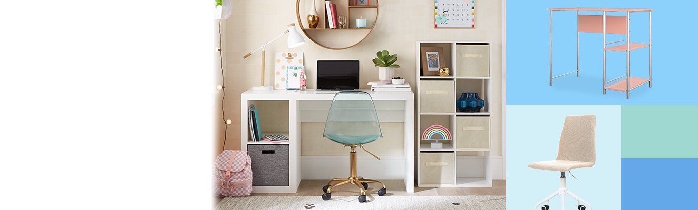 Study furniture from fifty dollars. Prep a study station with desks, chairs, storage, and more.
