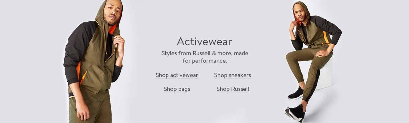 Activewear refresh. With new styles from Russell & more.Shop activewear. Shop sneakers. Shop bags. Shop Russell