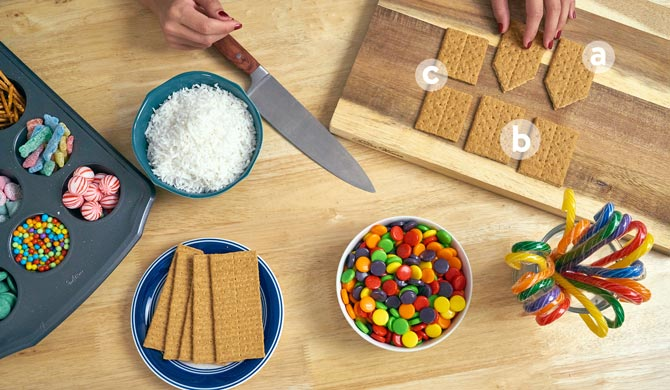 Ingredients for colorful candy cottage graham cracker houses