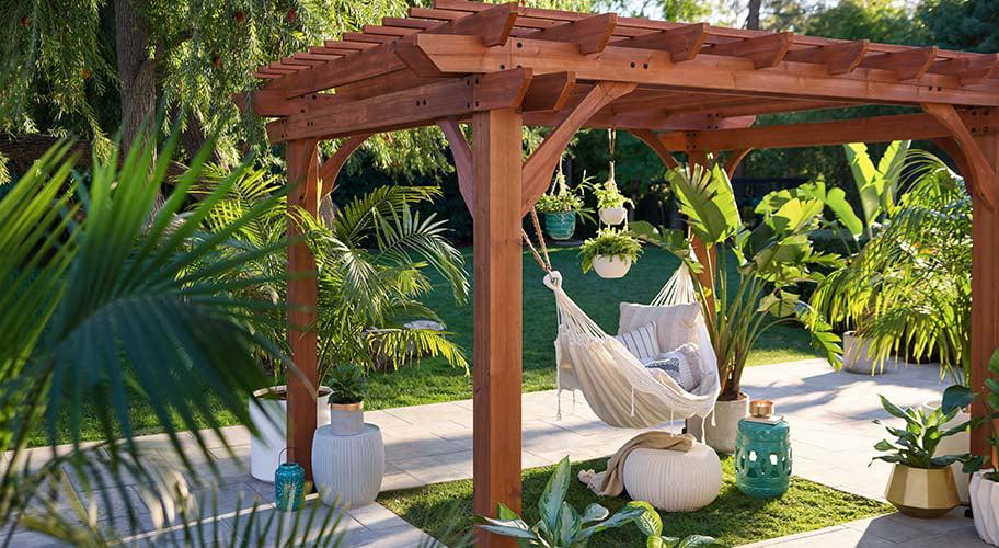 Borrow The Effortless Chic Of A Mediterranean Garden With A Wooden Pergola