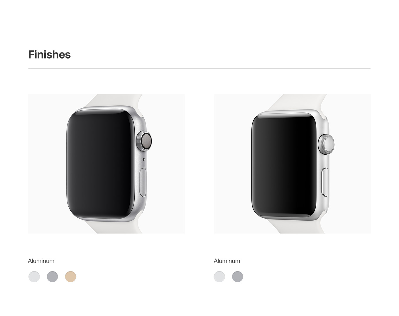 Finishes - Apple Watch Comparison Chart