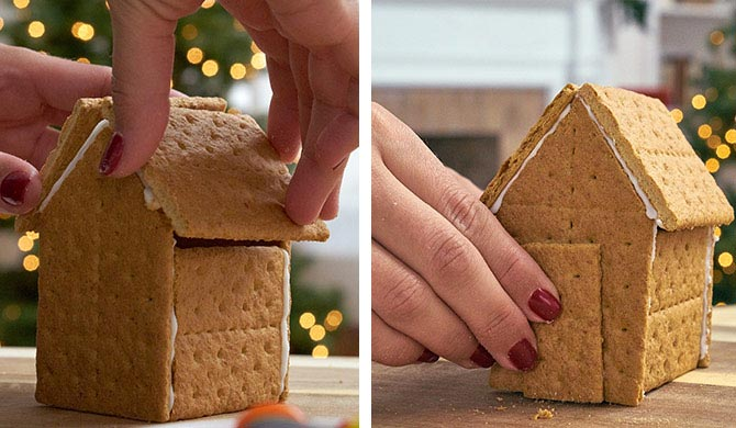 Building the structure for the graham cracker candy house