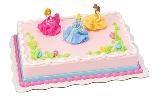 Disney Princess Sheet Cake With Aurora Belle And Cinderella Figurines