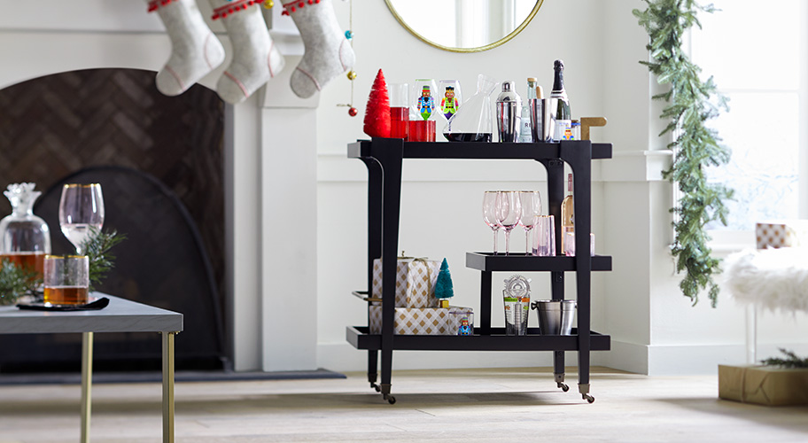 Straight-up style. A bar cart is a smart sidekick for the holidays & beyond. Handy for cocktails or as a coffee bar, it's also useful as a side table or mini buffet. Find the perfect one here for every need & space.
