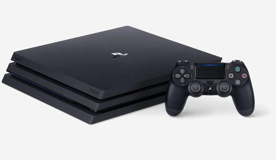 The PS4 Pro 1TB console with DualShock 4 controller.