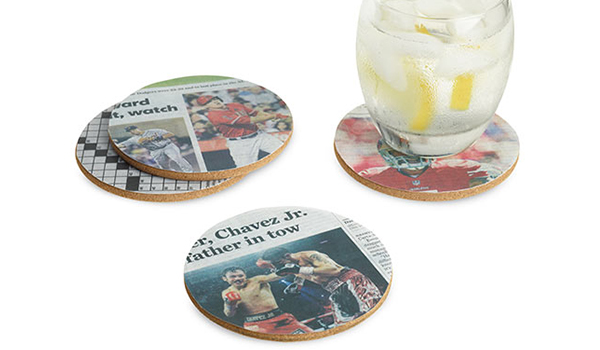 Homemade coasters with newspaper