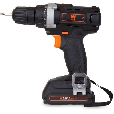 WEN 20-Volt MAX Lithium-Ion Cordless Drill/Driver with Bits and Carrying Bag