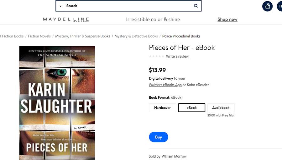 Walmart ebooks - karin slaughter pieces of her book